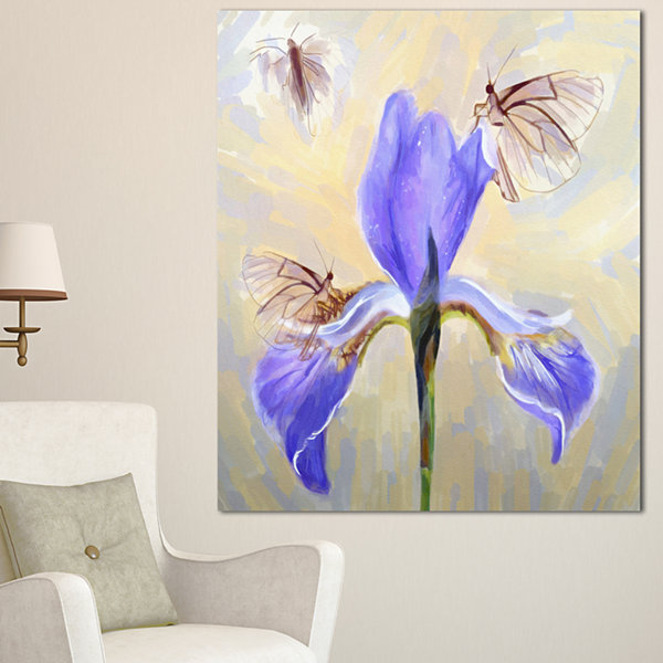 Design Art Blue Flower With Butterflies Sketch Floral Canvas Art Print