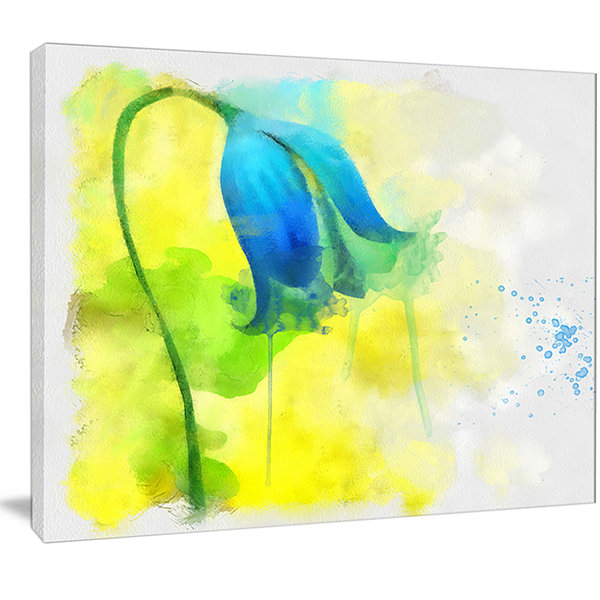 Design Art Blue Flower With Yellow Splashes LargeFloral Canvas Artwork