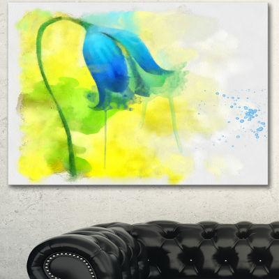 Designart Blue Flower With Yellow Splashes LargeFloral Canvas Artwork 3 Panels
