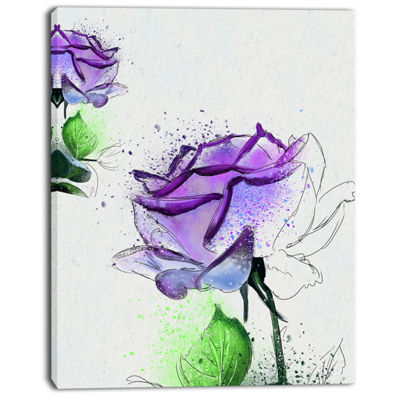 Designart Blue Rose Flowers With Green Leaves Floral Canvas Art Print