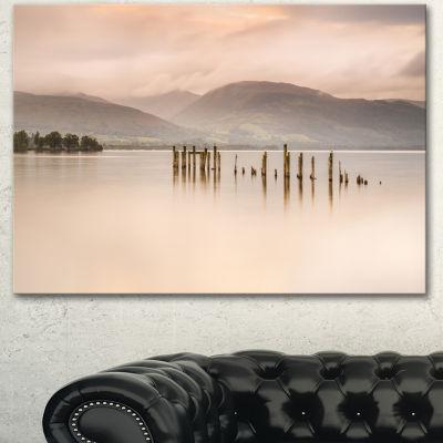 Design Art Loch Lomond Jetty And Mountains Large Landscape Canvas Art - 3 Panels