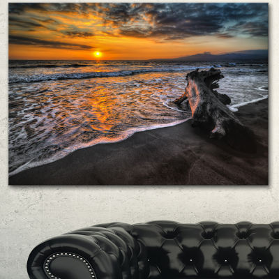 Designart Log On Beach During Sunset Seashore Canvas Art Print - 3 Panels