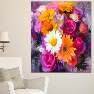 Designart Bouquet Of Flowers Watercolor Large Floral Canvas Artwork  3 Panels