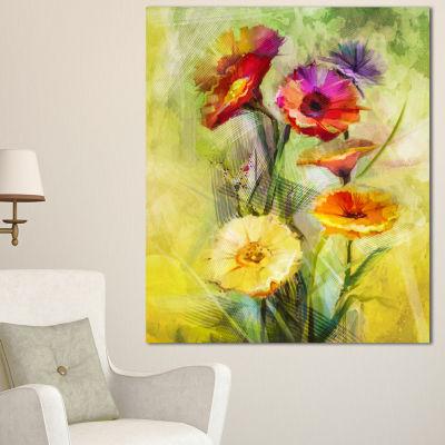 Designart Bouquet Of Gerbera Flowers Watercolor Large Floral Canvas Artwork 3 Panels