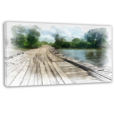 Designart Bridge Over Waterfall In Forest Large Landscape Canvas Art