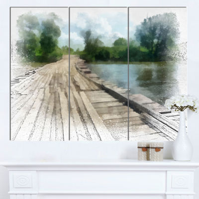 Designart Bridge Over Waterfall In Forest Large Landscape Canvas Art 3 Panels
