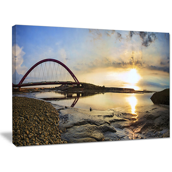 Designart Bridge Sunset Panorama Oversized Seashore Wall Art On Canvas