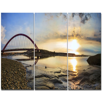 Designart Bridge Sunset Panorama Seashore Wall ArtOn Canvas  3 Panels
