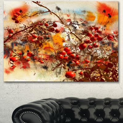 Designart Brier Rose Abstract Background Large Floral Canvas Art Print