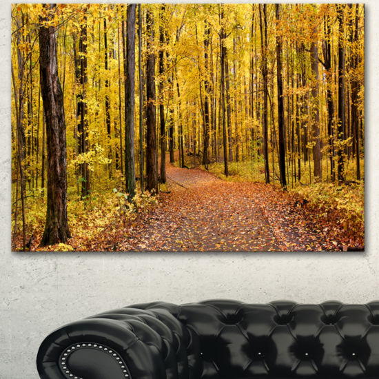 Designart Bright Autumn Forest Panorama Modern Forest Canvas Art