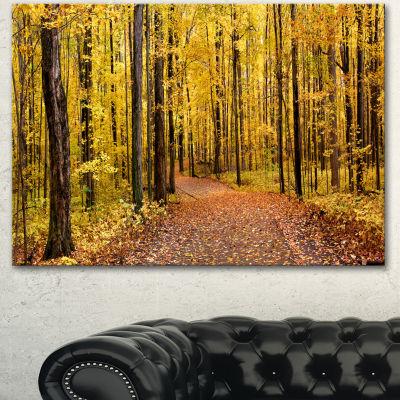 Designart Bright Autumn Forest Panorama Modern Forest Canvas Art 3 Panels