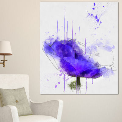 Designart Bright Blue Anemone Watercolor FlowersCanvas Wall Artwork