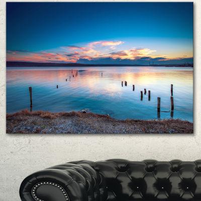 Designart Bright Blue Sky And Blue Waters SeashoreCanvas Art Print