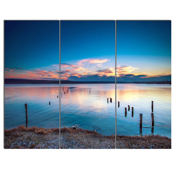Designart Bright Blue Sky And Blue Waters SeashoreCanvas Art Print 3 Panels