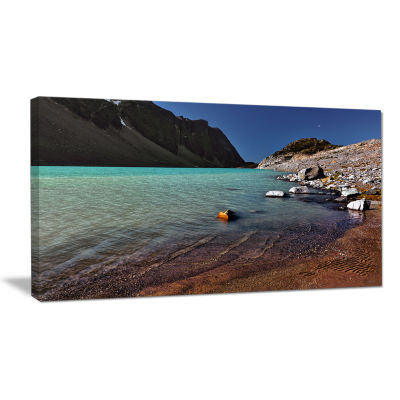Designart Bright Blue Waters Of Mountain Lake Landscape Canvas Art Print