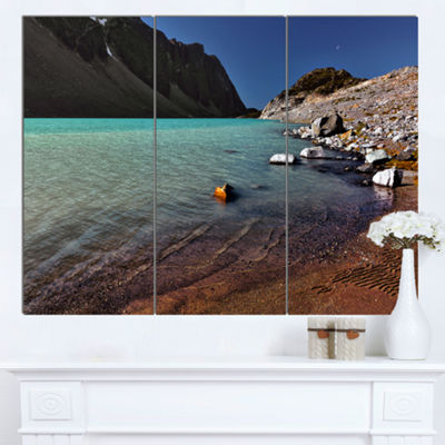 Designart Bright Blue Waters Of Mountain Lake Landscape Canvas Art Print 3 Panels