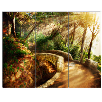 Designart Bright Sun In Mystical Park Large Landscape Canvas Art  3 Panels
