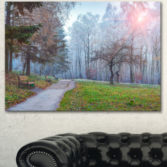 Designart Bright Sun Over Autumn Trees Large Landscape Canvas Art Print
