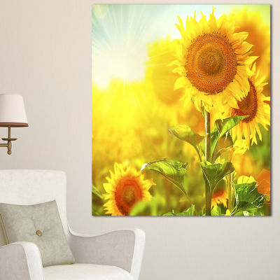 Designart Bright Sunflowers Blooming On Field Large Animal Canvas Art Print