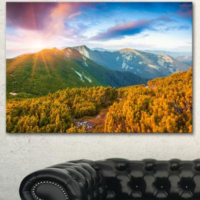 Designart Bright Sunrise In Carpathian MountainsLandscape Canvas Art Print