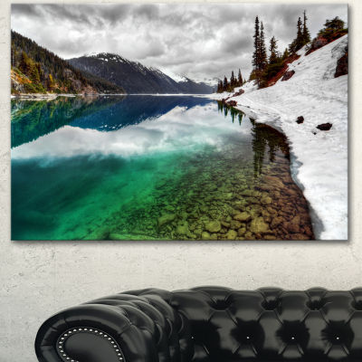 Designart Clear Lake Pine Trees And Mountains Extra Large Landscape Canvas Art Print
