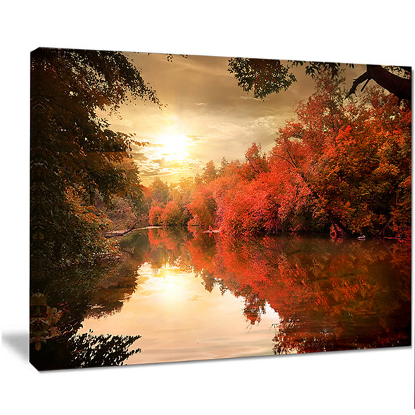 Designart Colorful Fall Sunset Over River Landscape Canvas Art Print