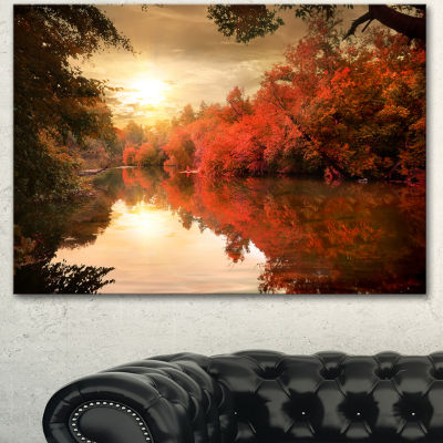 Designart Colorful Fall Sunset Over River Landscape Canvas Art Print - 3 Panels