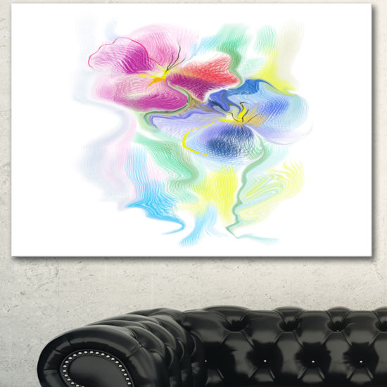 Designart Colorful Floral Watercolor Sketch ExtraLarge Floral Wall Art