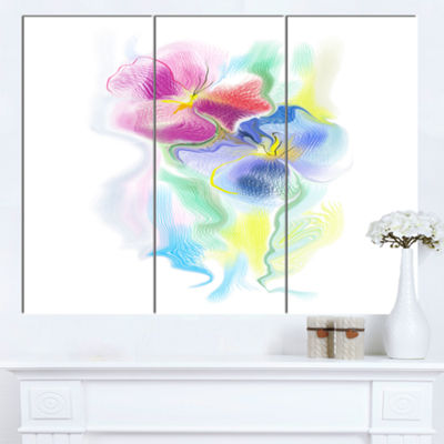 Designart Colorful Floral Watercolor Sketch ExtraLarge Floral Wall Art - 3 Panels