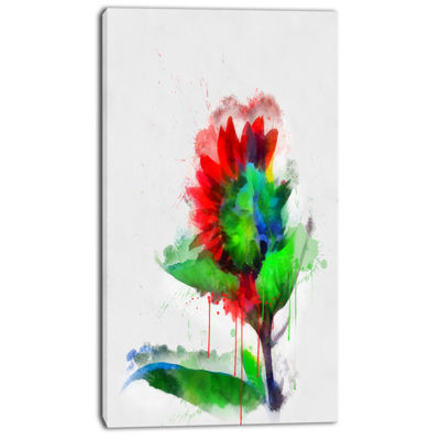Designart Colorful Flower Stem With Splashes LargeFloral Canvas Artwork