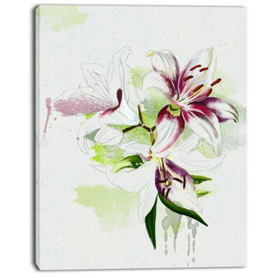 Designart Colorful Flowers With Color Splashes Floral Canvas Art Print