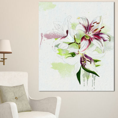 Design Art Colorful Flowers With Color Splashes Floral Canvas Art Print