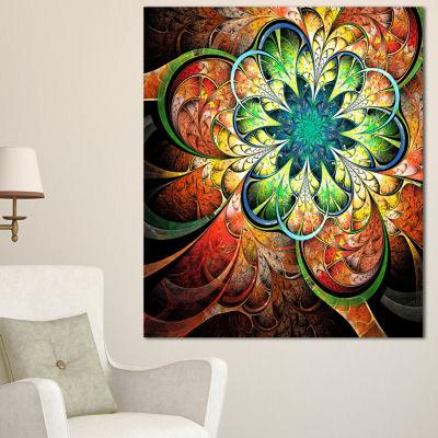 Design Art Colorful Fractal Flower Pattern FloralCanvas Art Print - 3 Panels