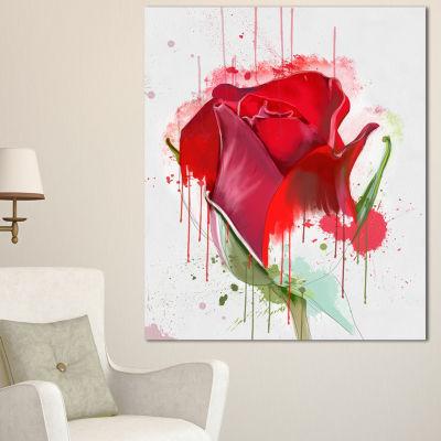 Designart Colorful Red Rose Sketch Watercolor Floral Canvas Art Print - 3 Panels