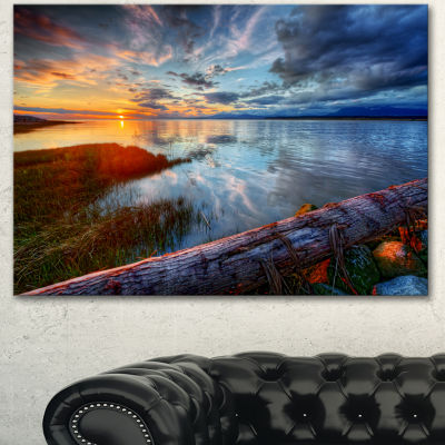 Designart Colorful River Sunset With Log SeashoreCanvas Art Print - 3 Panels