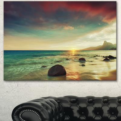 Designart Colorful Seashore With Rocky Beach LargeSeashore Canvas Art Print