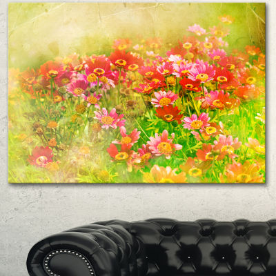 Designart Colorful Spring Garden With Flowers Large Floral Canvas Artwork