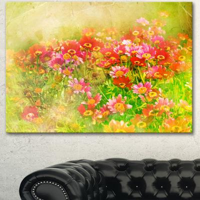 Designart Colorful Spring Garden With Flowers Large Floral Canvas Artwork - 3 Panels
