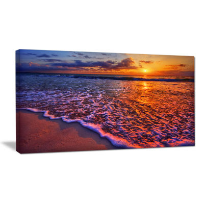 Design Art Colorful Sunset And Wavy Waters SeashoreCanvas Art Print