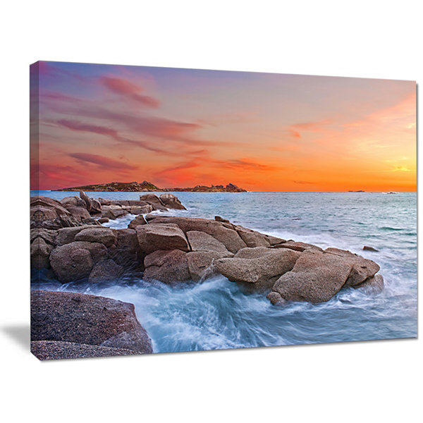 Designart Colorful Sunset At Rocky Seaside Seashore Wall Art On Canvas