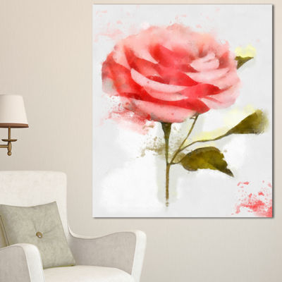 Designart Cute Pink Watercolor Rose Sketch FlowersCanvas Wall Artwork