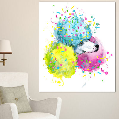 Designart Cute White Dog With Color Spheres Contemporary Animal Art Canvas