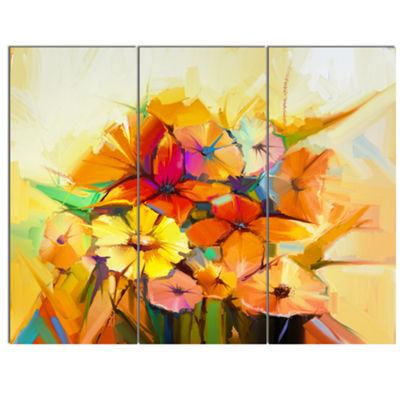 Designart Fantastic Colorful Gerbera Flowers LargeFloral Canvas Art Print - 3 Panels