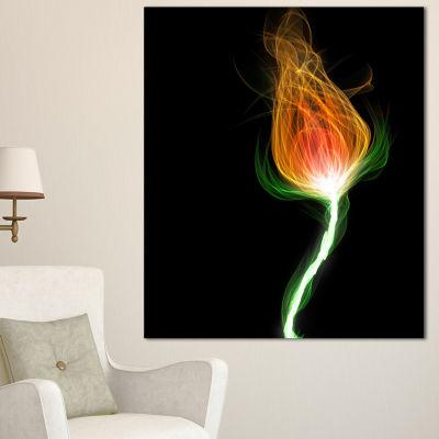 Designart Fiery Fractal Flower With Stem Floral Canvas Art Print