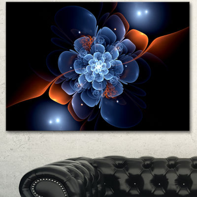 Designart Fractal Flower With Orange Flame FloralCanvas Art Print - 3 Panels