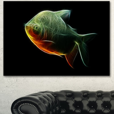 Designart Fractal Pacu Fish On Black Large AnimalCanvas Artwork
