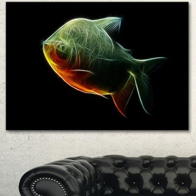 Designart Fractal Pacu Fish On Black Large AnimalCanvas Artwork - 3 Panels