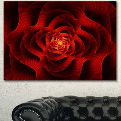Designart Fractal Red Flower Of Love Flower Artwork On Canvas - 3 Panels