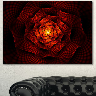 Designart Fractal Red Flower Of Passion Flower Artwork On Canvas - 3 Panels