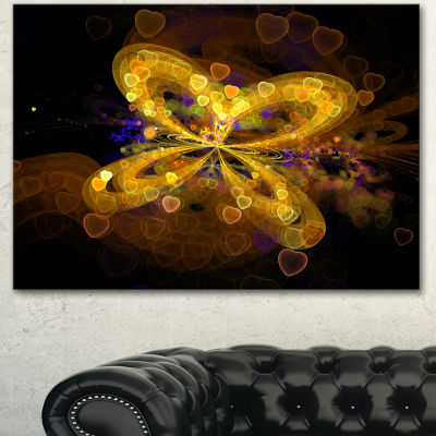 Designart Fractal Yellow Butterfly Pattern ExtraLarge Floral Wall Art - 3 Panels